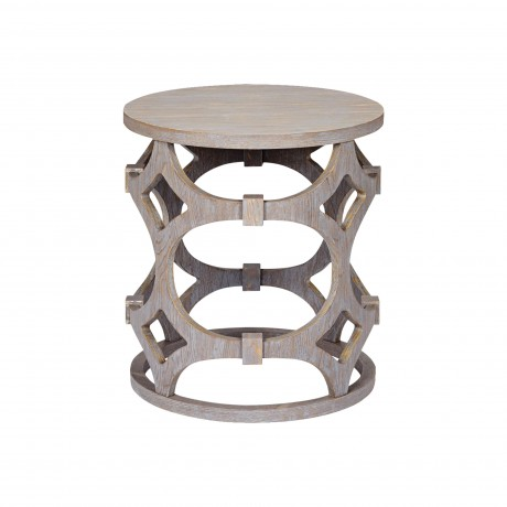 Tuxedo Round End Table with Gray Finish and Gray Top