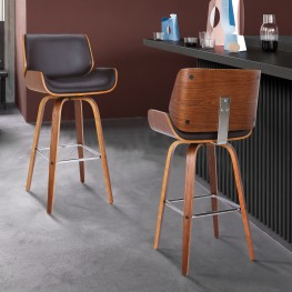 "Armen Living Tyler 30"" Mid-Century Swivel Bar Height Barstool in Brown Faux Leather with Walnut Veneer"