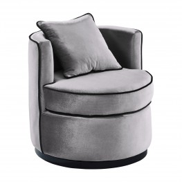 Armen Living Truly Contemporary Swivel Chair in Grey Velvet and Black Velvet Piping