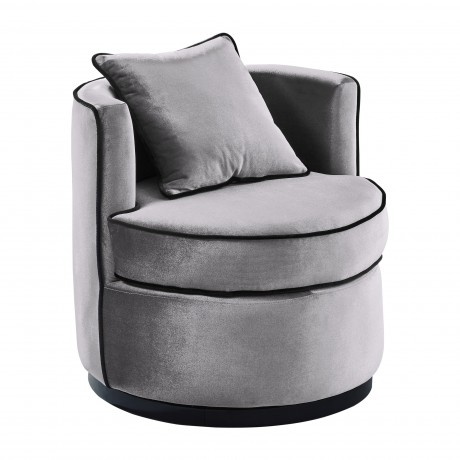 Truly Contemporary Swivel Chair in Grey Velvet and Black Velvet Piping