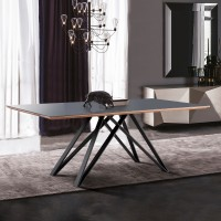 Urbino Mid-Century Dining Table in Matte Black Finish with Walnut and Dark Gray Glass Top