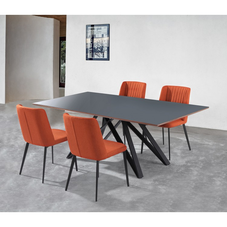 Armen Living Urbino MidCentury Dining Table In Matte Black Finish - Glass top mid century dining table