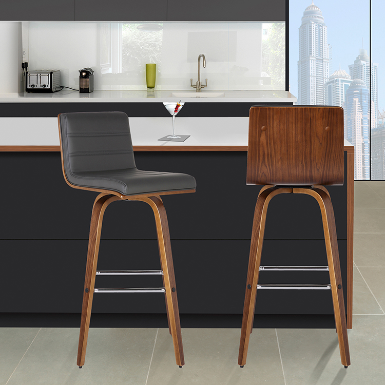 Armen Living Vienna 30 Barstool In Walnut Wood Finish With Gray Pu Upholstery