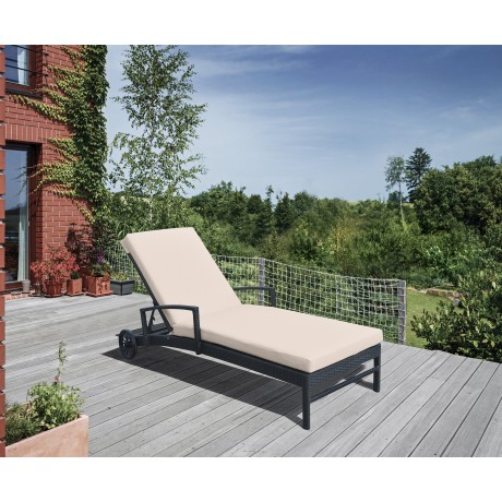 Vida Outdoor Wicker Lounge Chair with Water Resistant Beige Fabric Cushion
