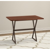 Armen Living Valencia Contemporary Rectangular Bar Table in Auburn Bay Finish with Sedona Wood Top