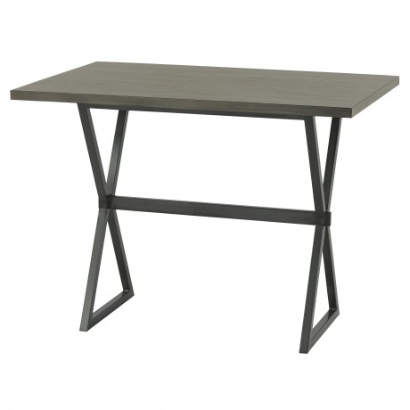 Valencia Contemporary Rectangular Bar Table in Mineral Finish with Grey Walnut Wood Top