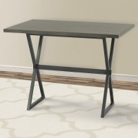 Armen Living Valencia Contemporary Rectangular Bar Table in Mineral Finish with Grey Walnut Wood Top