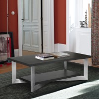 Armen Living Vermont Contemporary Coffee Table in Brushed Stainless Steel Finish and Grey Top