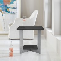 Armen Living Vermont Contemporary End Table in Brushed Stainless Steel Finish and Grey Top