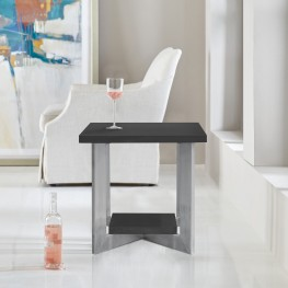 Vermont Contemporary End Table in Brushed Stainless Steel Finish and Grey Top