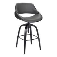 Vanessa Contemporary Adjustable Barstool in Black Brushed Wood Finish and Grey Faux Leather