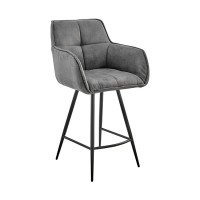 """Verona 26"""" Counter Height Bar Stool in Charcoal Fabric and Black Finish"""