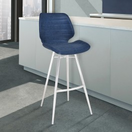 "Armen Living Valor  26"" Counter Height Barstool in Brushed Stainless Steel with Dark Vintage Blue Faux Leather"