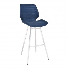 "Armen Living Valor 30"" Bar Height Barstool in Brushed Stainless Steel with Dark Vintage Blue Faux Leather"