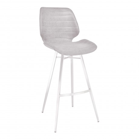 "Valor 26"" Counter Height Barstool in Brushed Stainless Steel with Light Vintage Grey Faux Leather"