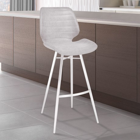 "Armen Living Valor 26"" Counter Height Barstool in Brushed Stainless Steel with Light Vintage Grey Faux Leather"