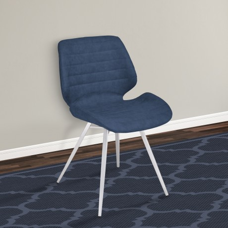Armen Living Valor Contemporary Dining Chair in Brushed Stainless Steel with Dark Vintage Blue Faux Leather