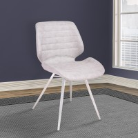 Armen Living Valor Contemporary Dining Chair in Brushed Stainless Steel with Vintage Grey Faux Leather