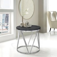 Armen Living Vivian Contemporary End Table in Polished Stainless Steel Finish with Grey Top