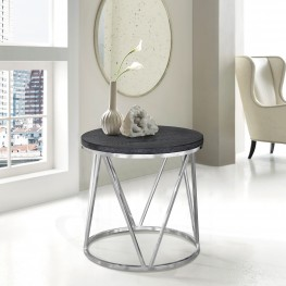 Vivian Contemporary End Table in Polished Stainless Steel Finish with Grey Top
