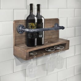 Vox Industrial Wine Rack in Industrial Grey and Pine Wood