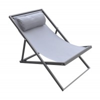 Armen Living Wave Outdoor Patio Aluminum Deck Chair in Grey Powder Coated Finish with Grey Sling Textilene