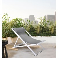 Armen Living Wave Outdoor Patio Aluminum Deck Chair in White Powder Coated Finish with Grey Sling Textilene