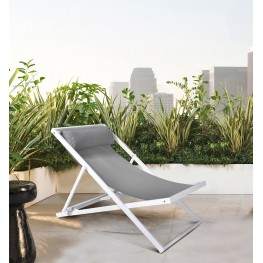 Wave Outdoor Patio Aluminum Deck Chair in White Powder Coated Finish with Grey Sling Textilene