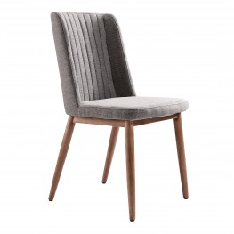WadeMid-Century Dining Chair in Walnut Finish and Gray Fabric - Set of 2