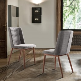 Wade Mid-Century Dining Chair in Walnut Finish and Gray Fabric - Set of 2