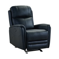 Wolfe Contemporary Black Top Grain Leather Power Recliner Chair with USB
