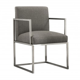 Warwick Contemporary Dining Chair in Brushed Stainless Steel Finish with Grey Fabric