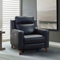 Wisteria Black Contemporary Top Grain Leather Power Recliner Chair with USB