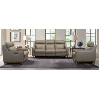 Wisteria Taupe Contemporary Top Grain Leather Power Recliner Chair with USB