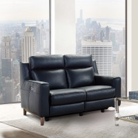 Wisteria Black Contemporary Top Grain Leather Power Recliner Loveseat with USB