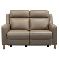 Wisteria Taupe Contemporary Top Grain Leather Power Recliner Loveseat with USB