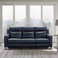 Wisteria Black Contemporary Top Grain Leather Power Recliner Sofa with USB