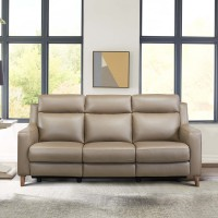 Wisteria Taupe Contemporary Top Grain Leather Power Recliner Sofa with USB