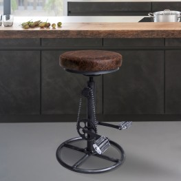 Xane Modern Adjustable Barstool in Industrial Grey Finish and Brown Fabric