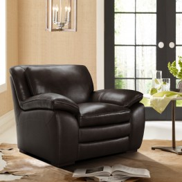 Armen Living Zanna Contemporary Chair in Genuine Dark Brown Leather with Brown Wood Legs