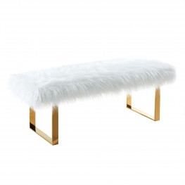 Armen Living Zinna Contemporary Bench in White Fur and Gold Stainless Steel Finish