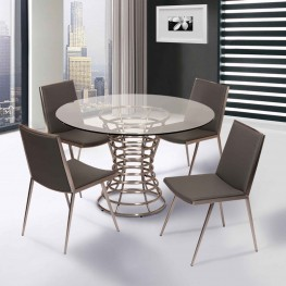 Ibiza Brushed Stainless Steel Dining Chair in Gray Pu (Set Of 2)