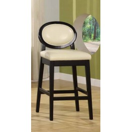 "Martini 26"" Stationary Barstool in Crème Leather with Black Legs"