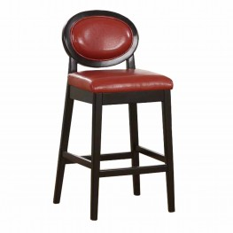 "Martini 26"" Stationary Barstool in Red Leather with Black Legs"
