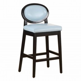"Martini 26"" Stationary Barstool in Sky Blue Leather with Black Legs"