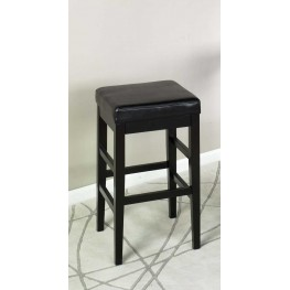 "Sonata 26"" Stationary Barstool in Black Bonded Leather"