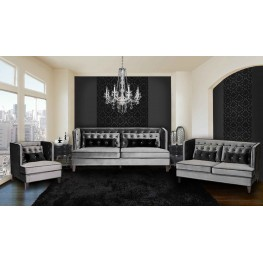 Moulin Sofa In Gray Velvet with Black Piping