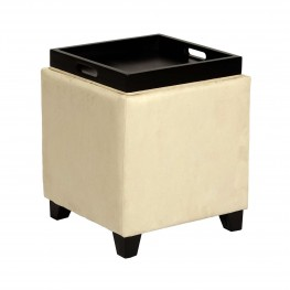 Rainbow Microfiber Storage Ottoman in Cream Microfiber