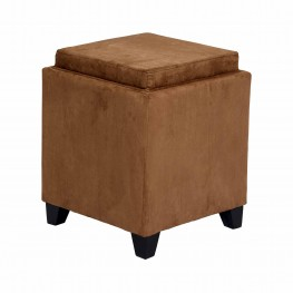 Rainbow Microfiber Storage Ottoman in Brown Microfiber