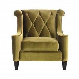 Barrister Chair In Green Velvet With Green Piping